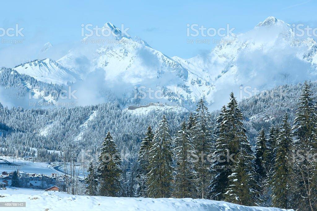 Winter mountain landscape (Austria, Tirol) stock photo