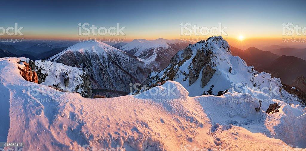 Winter mountain landscape sunset in peak Rozsutec stock photo