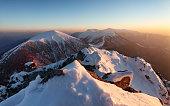 Winter mountain landscape sunset in peak Rozsutec