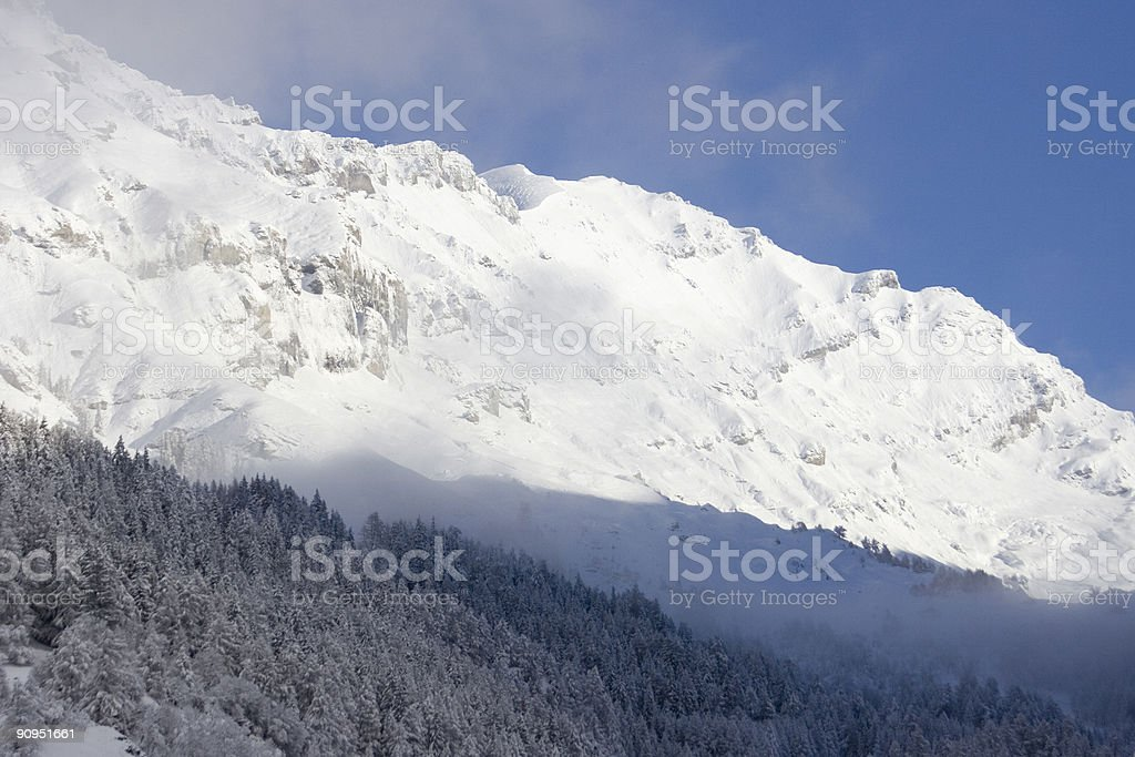 Winter Mountain Landscape with a Blue Sky royalty-free stock photo