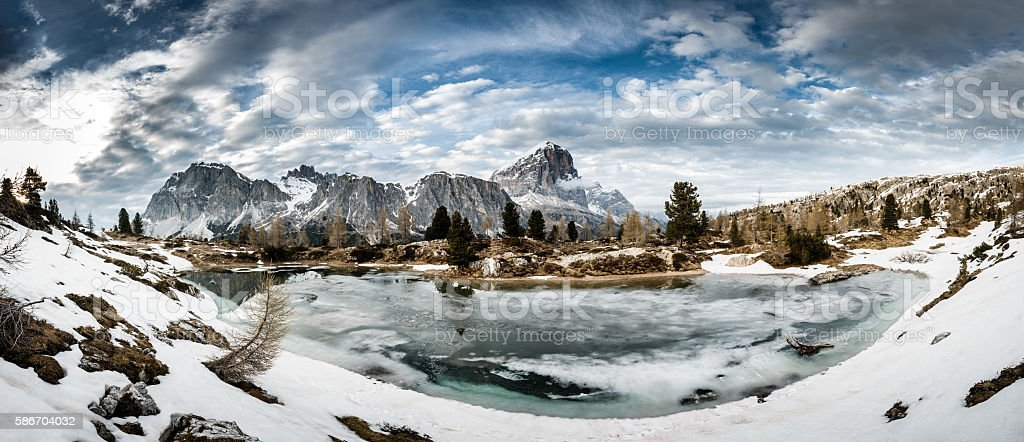 Winter mountain landscape with dramatic sky above stock photo