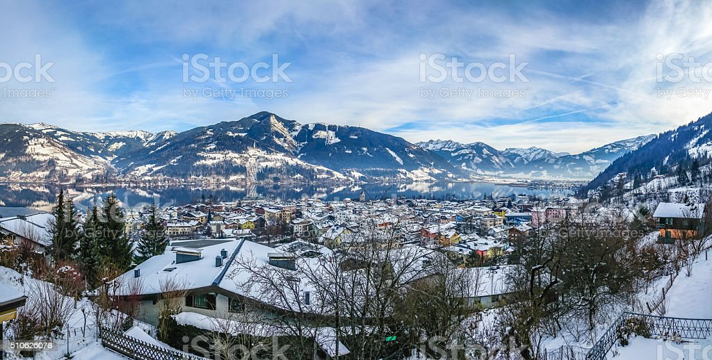 Winter mountain landscape with village of Zell am See, Austria stock photo