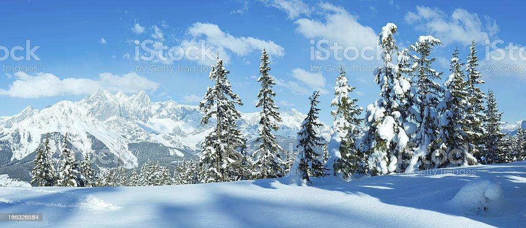 Winter mountain panorama. stock photo