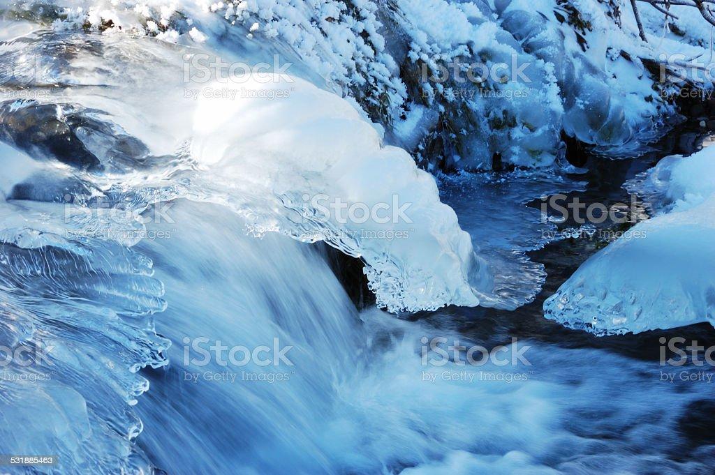 Winter mountain river stock photo