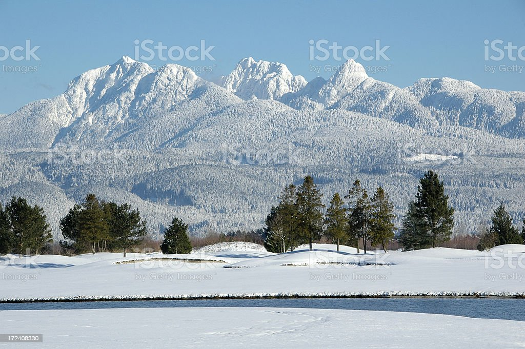 Winter Mountain Scene stock photo