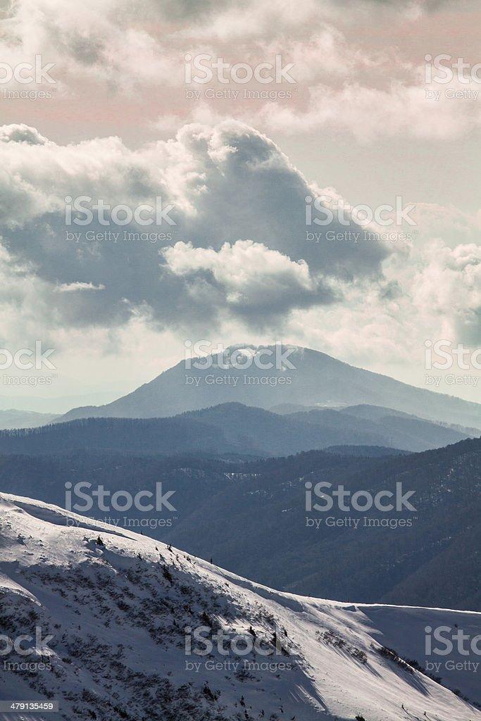 winter mountain Sunrise royalty-free stock photo