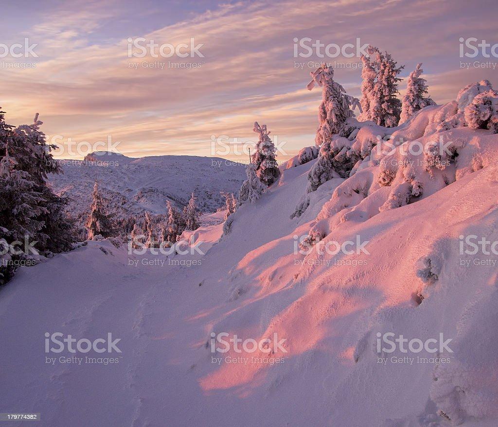 Winter mountain sunset royalty-free stock photo