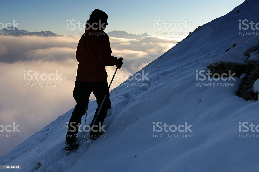 Winter mountain trekking royalty-free stock photo