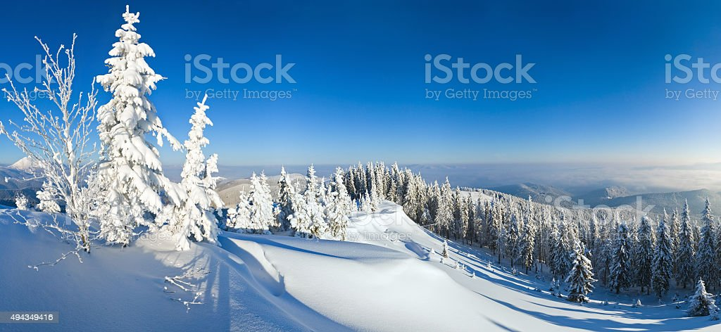 Winter mountain view stock photo