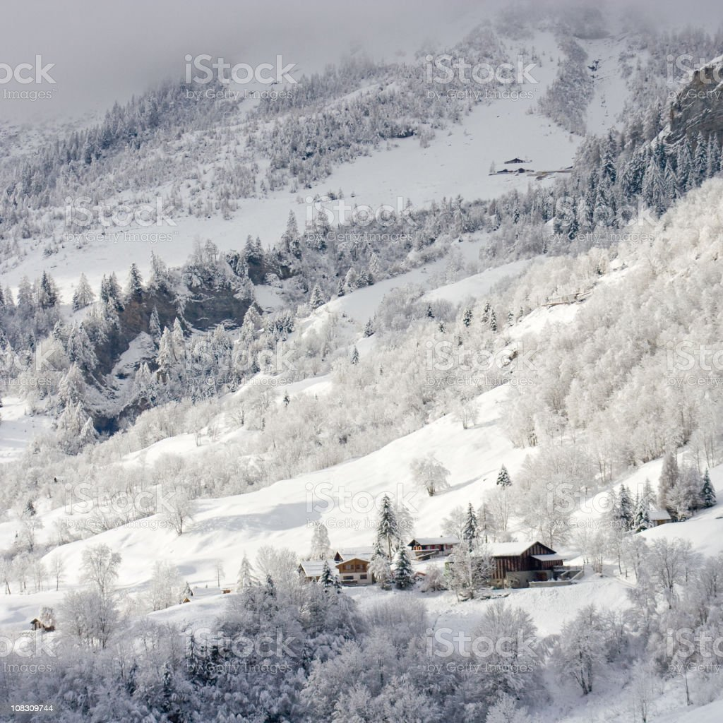 Winter Mountain Village, Alps Landscape royalty-free stock photo