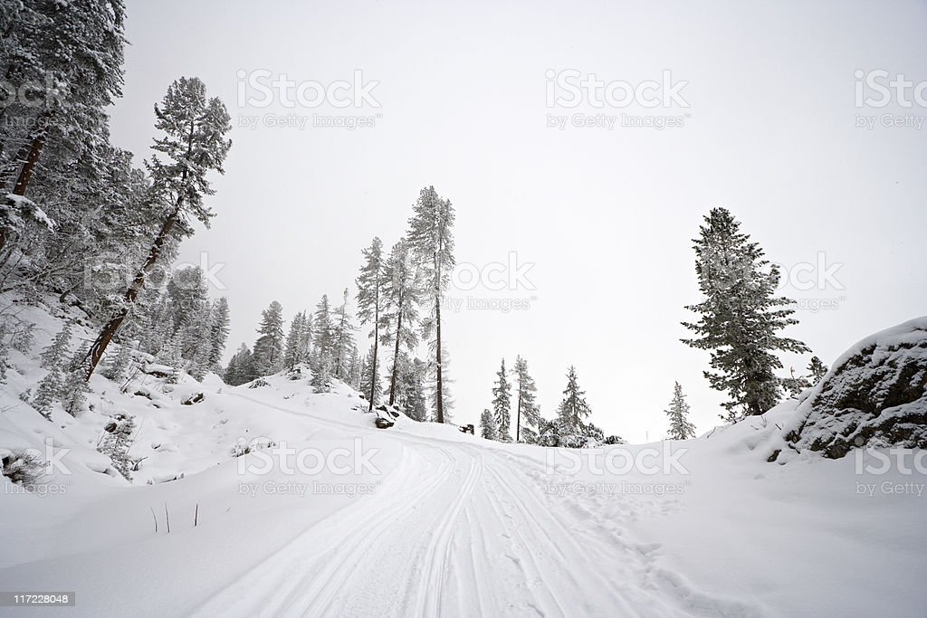 Winter Mountain Way royalty-free stock photo