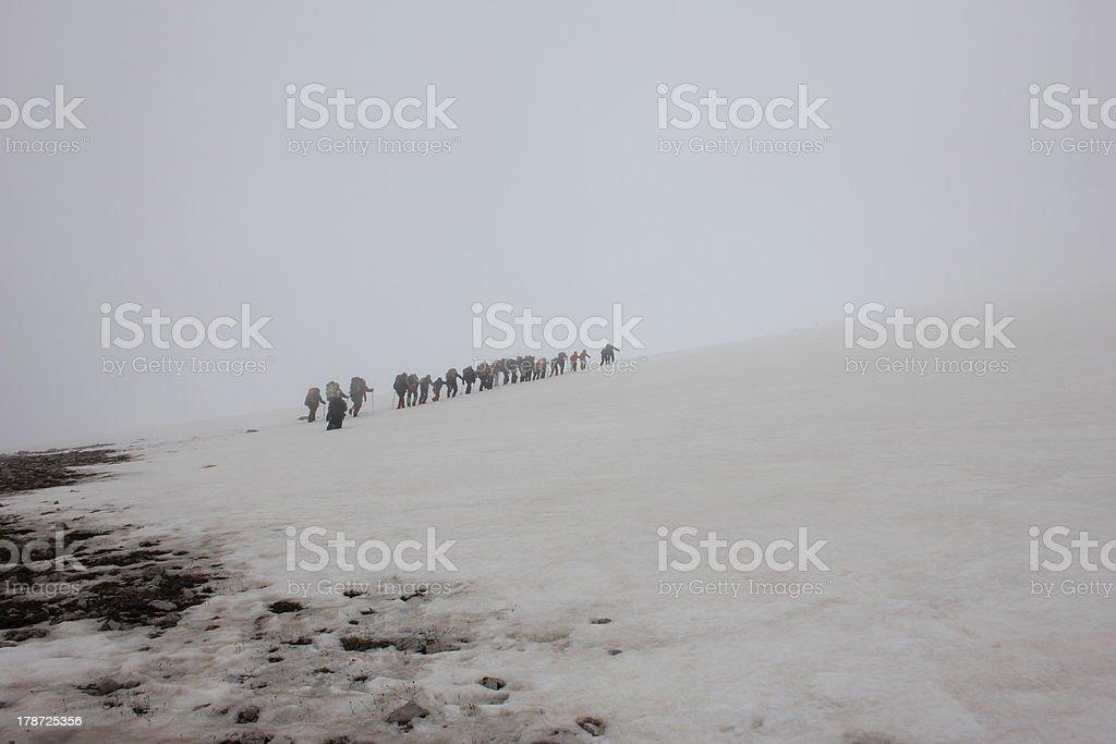 winter mountaineering stock photo