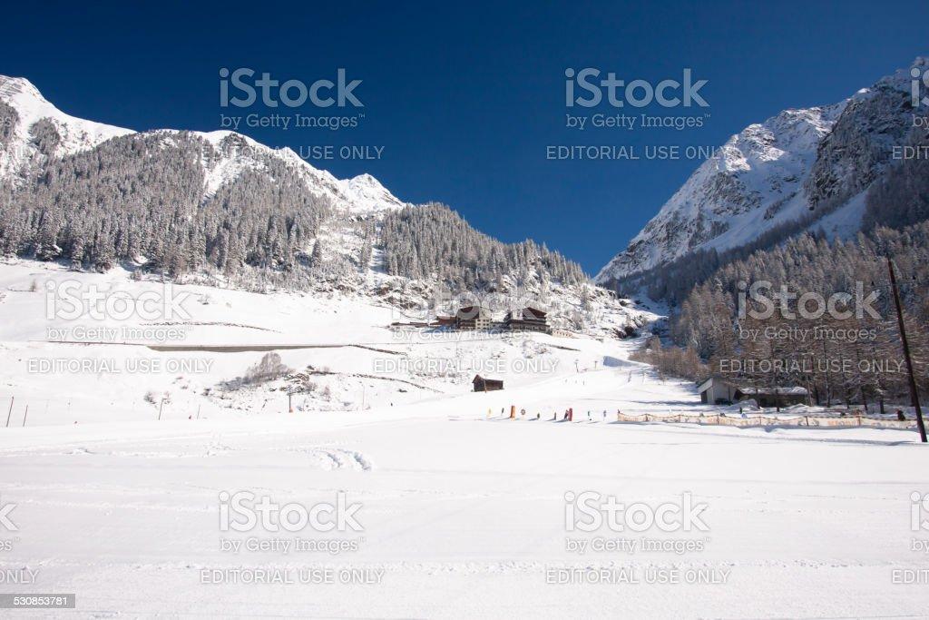 Winter Mountains And Ski Slope stock photo