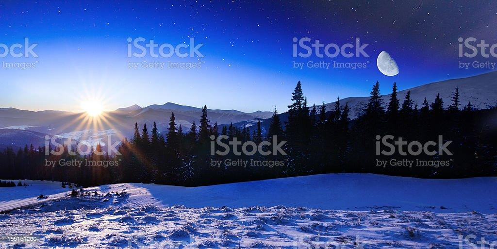 Winter mountains landscape. stock photo
