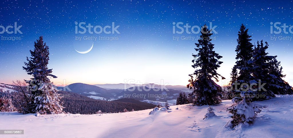 Winter mountains landscape. stock photo