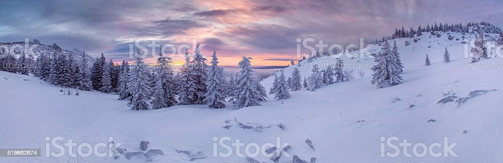 Winter mountains landscape stock photo