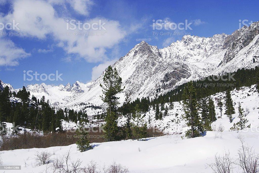 Winter mountains of Altai. Siberia. Russia stock photo