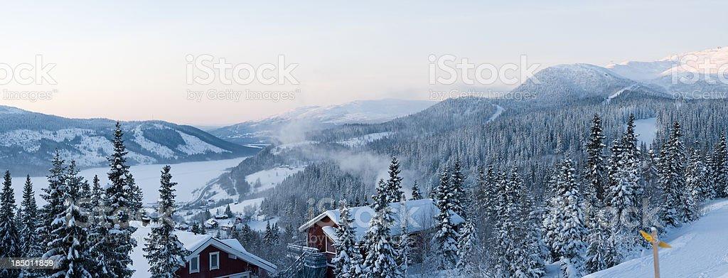Winter mountains panorama stock photo