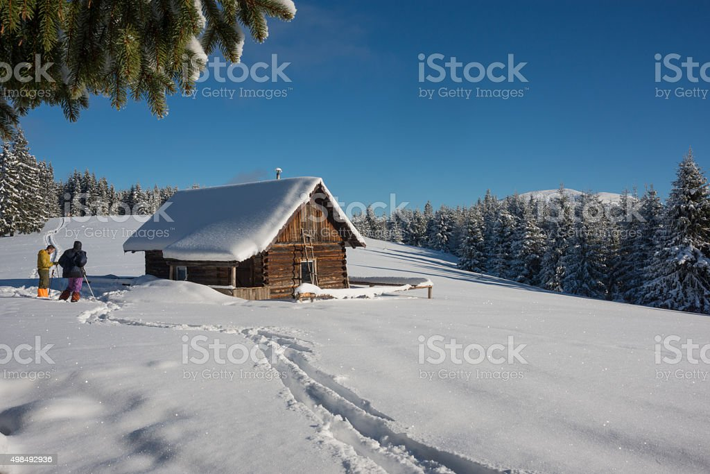 winter mountains scene with people stock photo