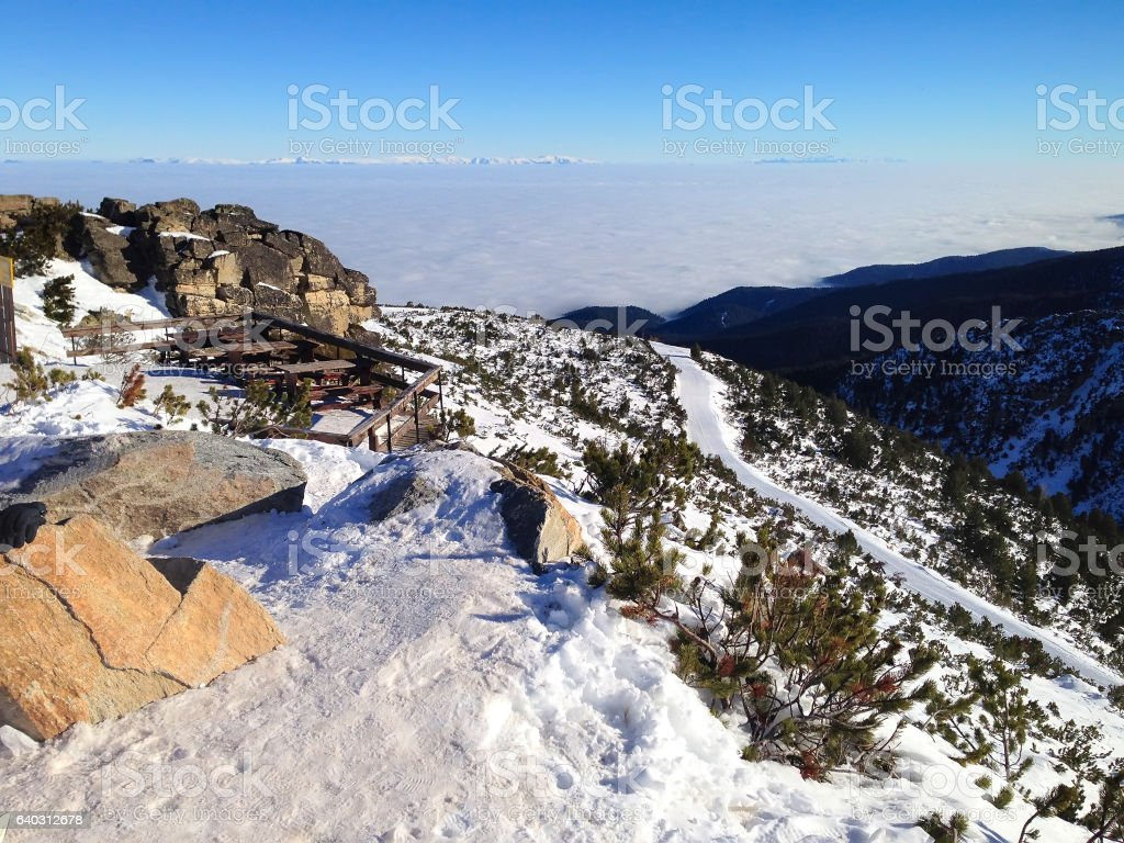 winter mountains, slopes in alpine ski resort Borovets, Bulgaria stock photo
