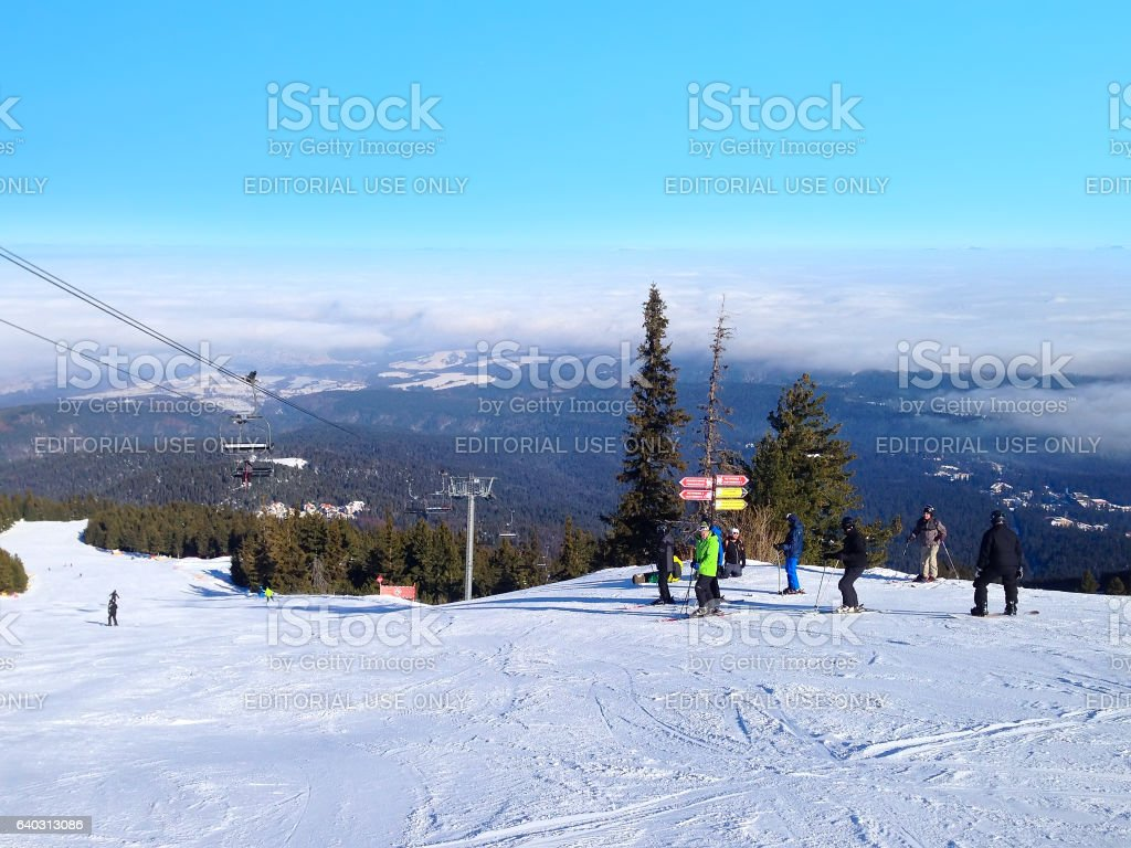 winter mountains, slopes in alpine ski resort Borovets, Bulgaria stock photo