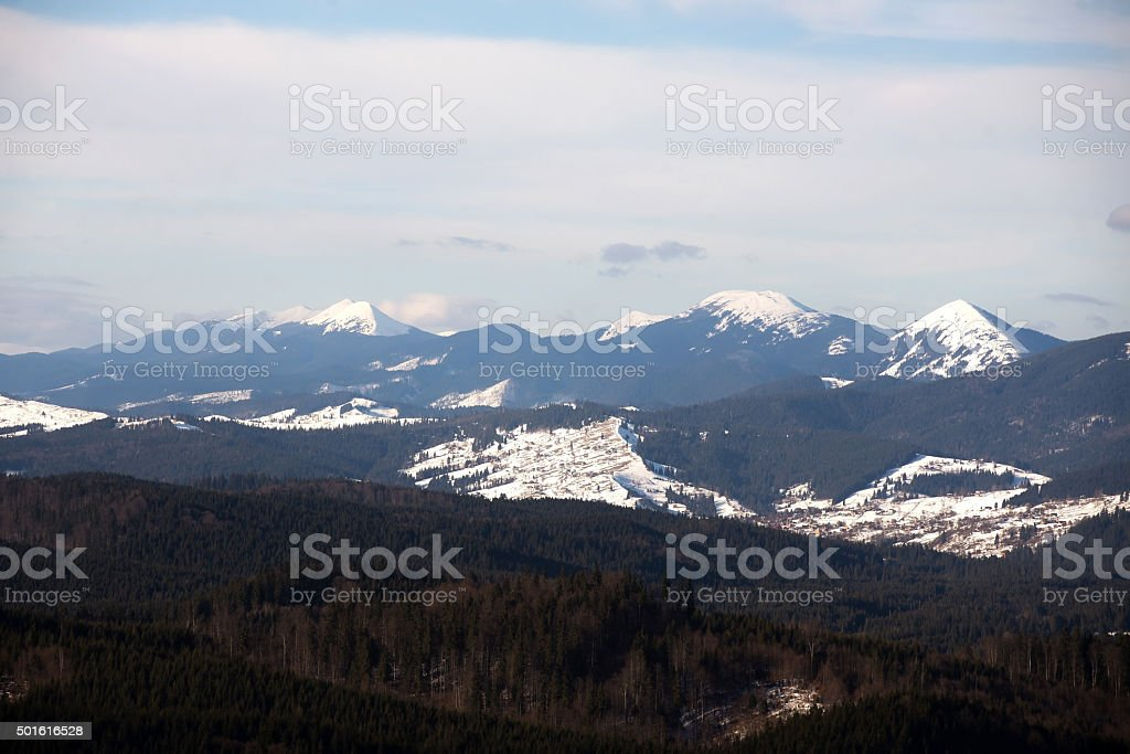 Winter mountains - space for text stock photo