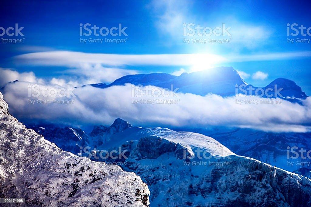Winter mountains Switzerland in sunshine. stock photo
