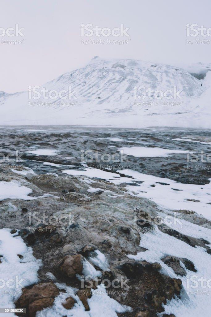 Winter Namafjall geothermal area stock photo
