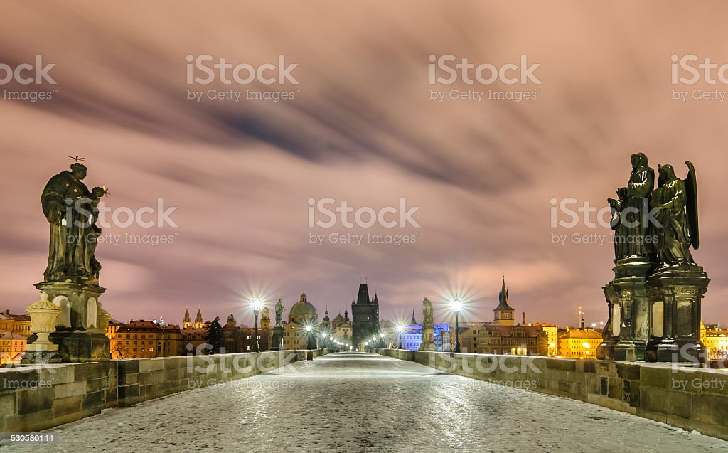 Winter night at Charles bridge, Prague, Czech republic stock photo