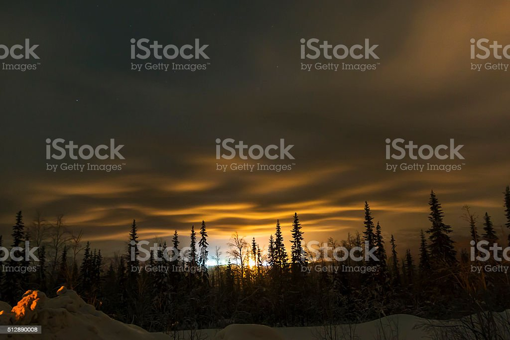 winter night in Kirovsk, Murmansk region stock photo