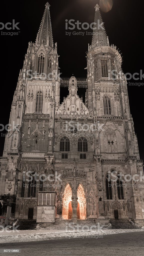 Winter night in Regensburg – Dome St. Peter stock photo