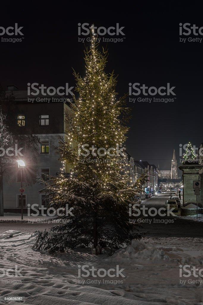 Winter night in Regensburg stock photo