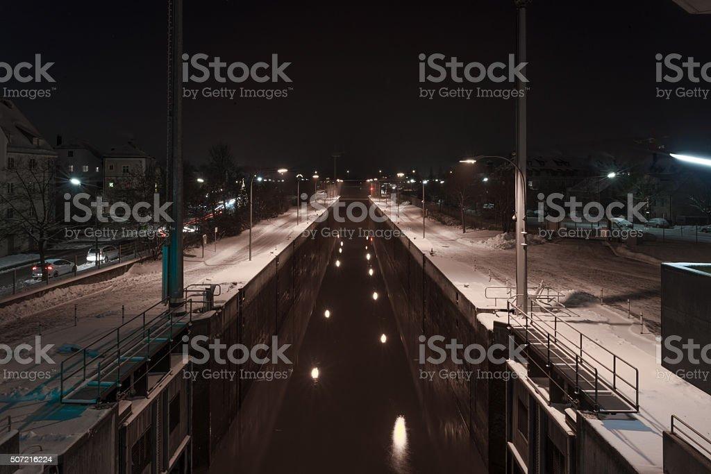 Winter night in Regensburg – watergate stock photo