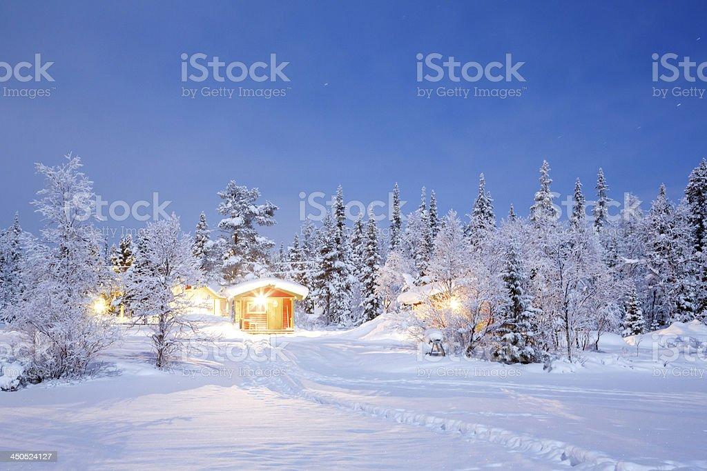 Winter Night Lapland Sweden stock photo