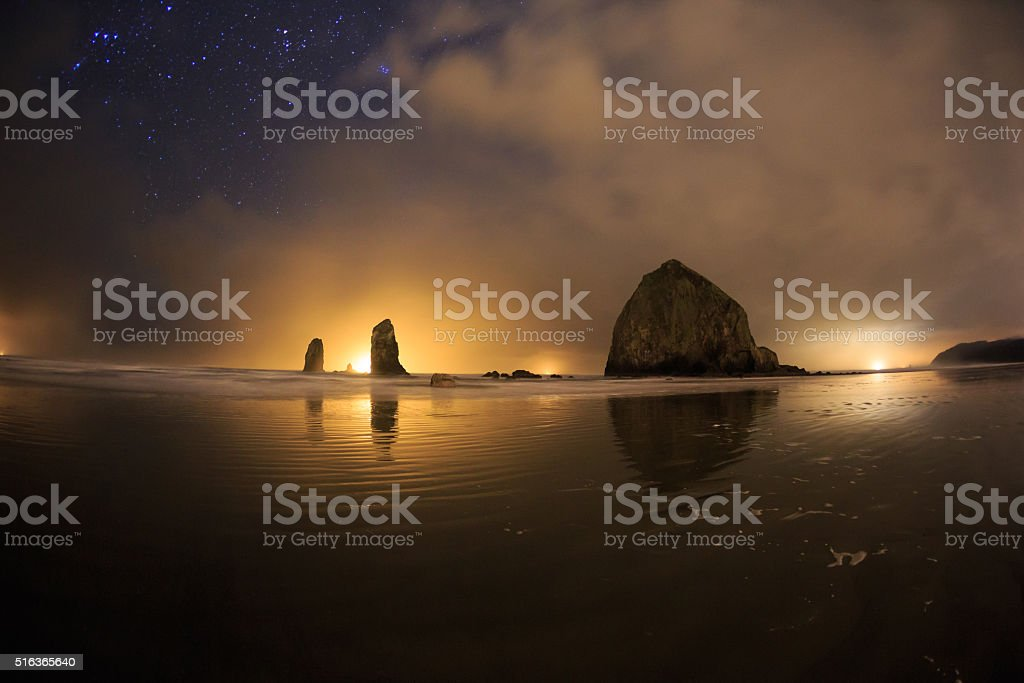 Winter night On The Beach stock photo