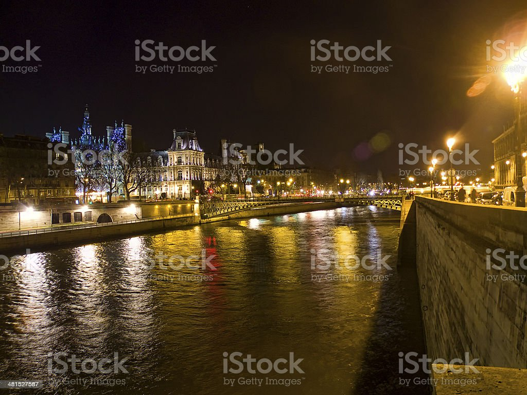 Winter night on the Seine river. royalty-free stock photo