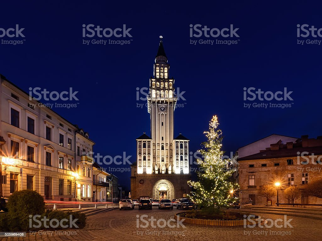 Winter night view, on the cathedra in Bielsko-Biala stock photo