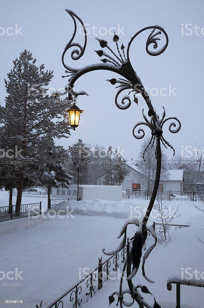 Winter. Night. White frost. stock photo