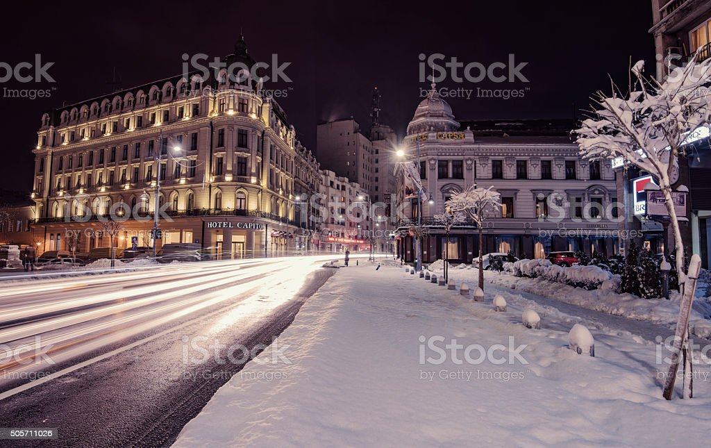 Winter nightscape in Bucharest stock photo