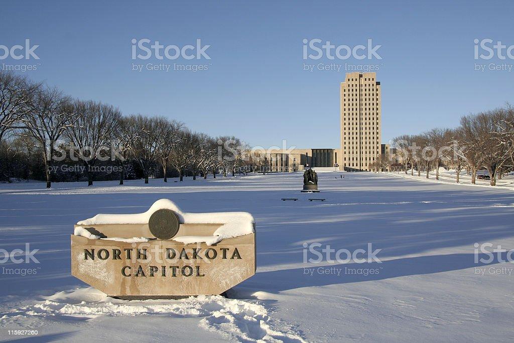 Winter North Dakota Capital stock photo
