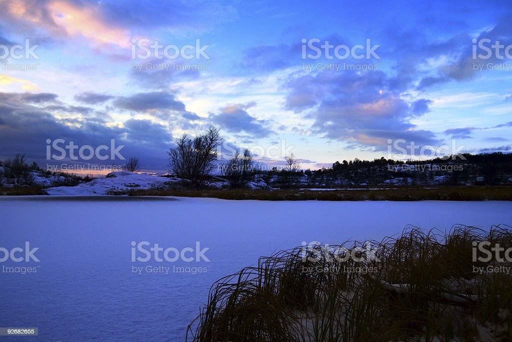 winter north lake and sunset royalty-free stock photo