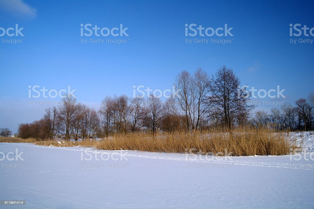 Winter of the river stock photo