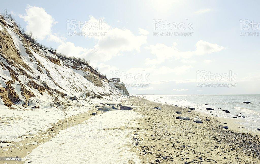 Winter on beach of baltic sea Darss region royalty-free stock photo