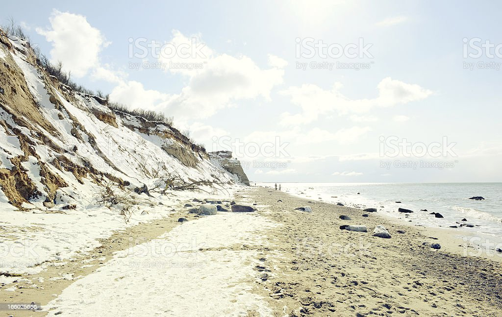 Winter on beach of baltic sea Darss region stock photo