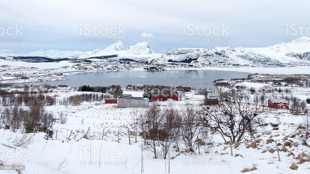 Winter on Lofoten Islands, Norway stock photo
