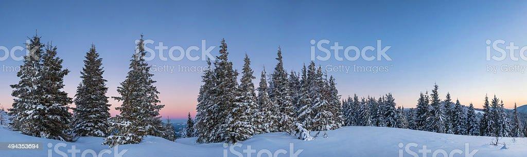 Winter on mountain hill, panorama stock photo