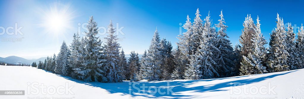 Winter on mountain hill, panorama stock photo