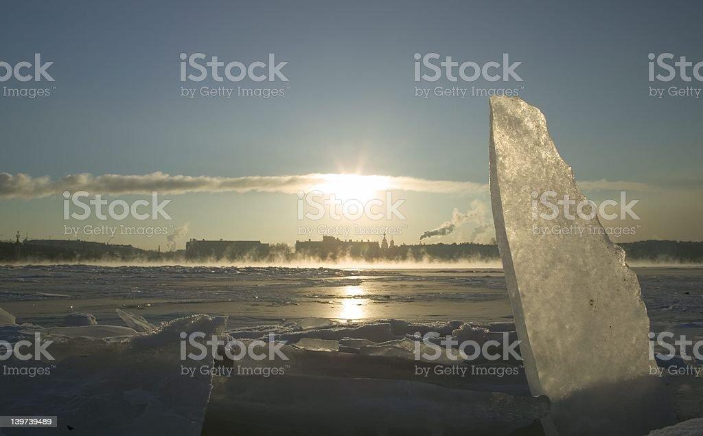 Winter on Niva river royalty-free stock photo