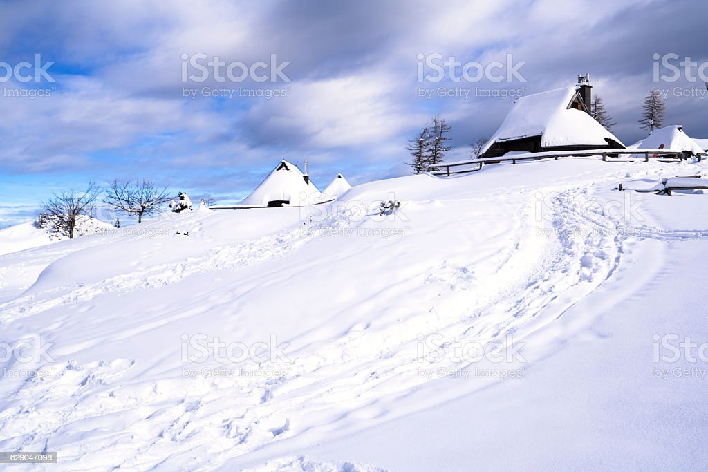 Winter on Plateau Velika Planina, Slovenia stock photo
