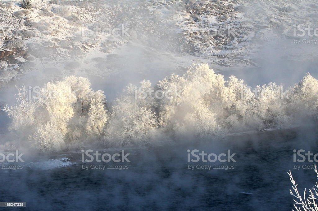 Winter on the Montana Missouri River stock photo